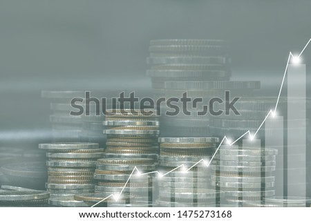 Double exposure of city and rows of coins for money, finance and business concept of teamwork and partnership. ECN Digital economy, best, technology, Industry, money, passive income. #1475273168