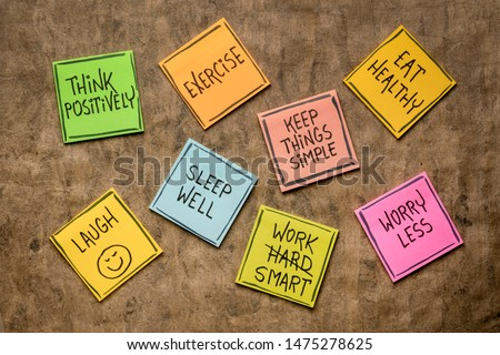 healthy lifestyle and wellbeing concept - a set of inspirational reminder notes Royalty-Free Stock Photo #1475278625
