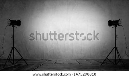 Empty photo studio with lighting equipment.3d rendering #1475298818