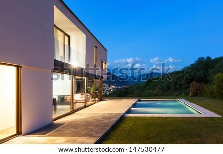 Modern villa with pool, night scene #147530477