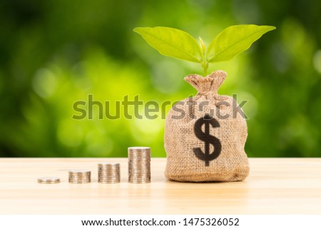Money sack and leaves with growing coin stack on green tree background, saving concept #1475326052