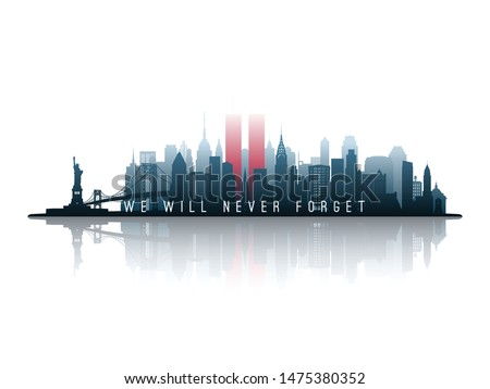 New York skyline silhouette with Twin Towers. 09.11.2001 American Patriot Day banner. NYC World Trade Center. Vector illustration. #1475380352