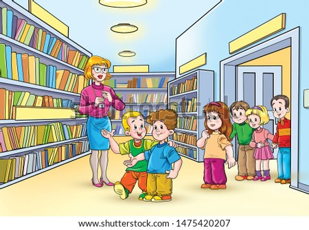 Kids in a school library