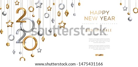 Christmas and New Year banner with hanging gold and silver 3d baubles and 2020 numbers on black background. Vector illustration. Winter holiday geometric decorations #1475431166