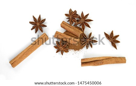 Cinnamon sticks and anise star isolated on white background close up. Spice Cinnamon sticks and anise star. #1475450006