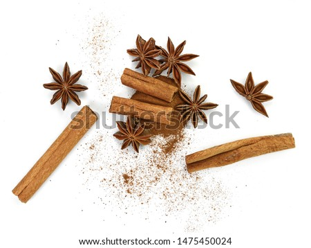 Cinnamon sticks and anise star isolated on white background close up. Spice Cinnamon sticks and anise star. #1475450024