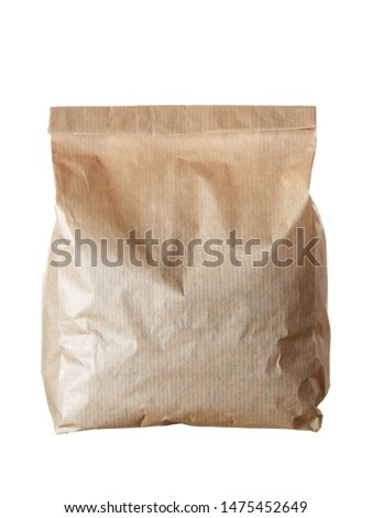 New empty blank paper bag without inscriptions and logos. Made from brown kraft paper. Isolated on white background. #1475452649