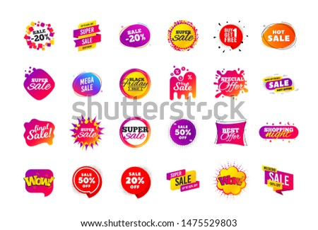 Sale banner badge. Special offer discount tags. Coupon shape templates design. Cyber monday sale discounts. Black friday shopping icons. Best ultimate offer badge. Super discount icons. Vector banners #1475529803