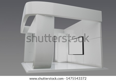 Plain exhibition stand 3d illustration used for mock - ups and branding ,corporate identity  #1475543372