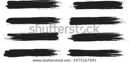 Brush stroke set isolated on white background.Collection of brush stroke for black ink paint, grunge backdrop, dirt banner,watercolor design and dirty texture.Creative art concept, vector illustration #1475567405