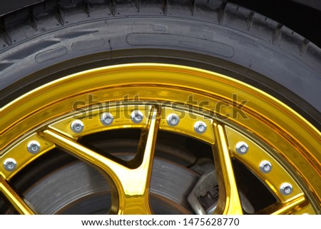 Gold chrome rims with chrome twelve sided fasteners. #1475628770
