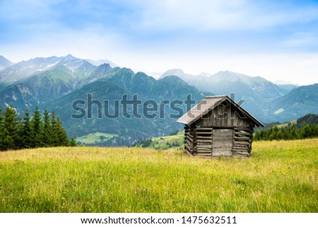Little Shed On Pasture Field In Mountains In Austria #1475632511