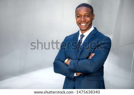 Portrait of male african american professional, possibly business executive corporate CEO, finance, attorney, lawyer, sales #1475638340