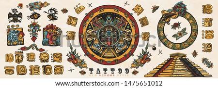 Ancient Maya Civilization. Old school tattoo collection. Mayan, Aztecs, Incas. Sun stone, pyramids, glyphs, Kukulkan. Mexican mesoamerican culture. Traditional tattooing style  #1475651012