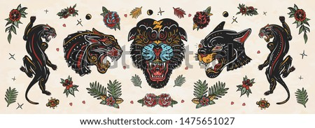Black panthers. Old school tattoo collection. Wild cats. Traditional tattooing style Royalty-Free Stock Photo #1475651027