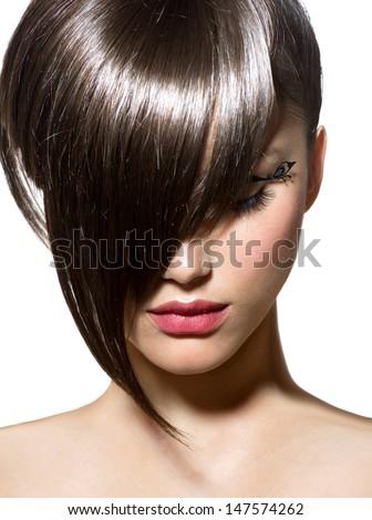 Fashion Haircut. Hairstyle. Stylish Fringe. Short Hair Style #147574262