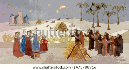 Medieval scene. King and queen, royal suite. Middle Ages, parchment concept. Historical art. Priests and soldiers protect castle.  Ancient book vector illustration #1475788916