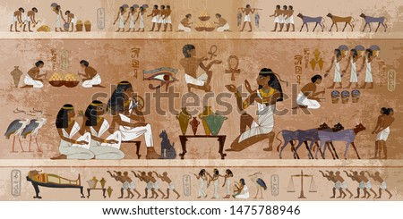 Ancient Egypt frescoes. Life of egyptians. Agriculture, workmanship, fishery, farm. Hieroglyphic carvings on  exterior walls of an ancient temple #1475788946