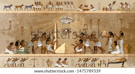 Ancient Egypt. Paleocontact frescoes. Aliens and egyptians. First contact. Spaceship UFO over pyramids. Ancient astronauts visited Earth, old stone murals #1475789339