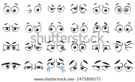 Funny cartoon eyes. Human eye, angry and happy facial eyes expressions. Comic facial character caricature, human eye emotions doodle. Isolated vector illustration icons set Royalty-Free Stock Photo #1475808575