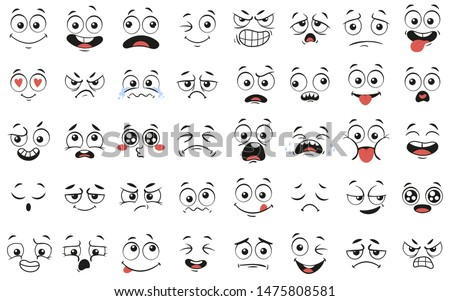 Cartoon faces. Expressive eyes and mouth, smiling, crying and surprised character face expressions. Caricature comic emotions or emoticon doodle. Isolated vector illustration icons set Royalty-Free Stock Photo #1475808581