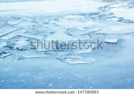 Ice background, frozen lake or river covered by ice. Royalty-Free Stock Photo #147580883
