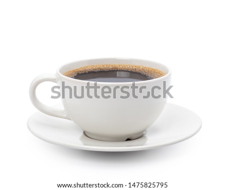 White cup of black coffee isolated on white background with clipping path #1475825795