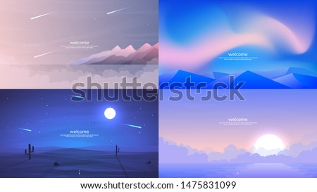 Vector backgrounds. Minimalist style. Flat concept. 4 landscapes collection. Mountains by the water, aurora in the Arctic, a night desert with a brightly shining moon, sunrise over water in the fog #1475831099