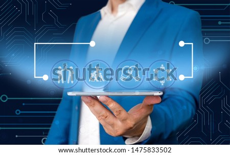 Male human presenting a presentation using the latest sophisticated devices. Man wear formal working suit introducing how smart gadget works. photo of modern life. #1475833502