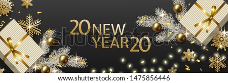 New Year 2020 and Christmas design, gift box, white Christmas tree branch, gold balls, snowflakes, garland with luminous bulbs on black background. Festive vector horizontal template #1475856446