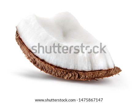 Coconut slice front view. Coconut piece side view isolated. Coco on white. #1475867147