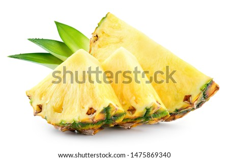 Pineapple slices with leaves. Pineapple isolate. Cut pineapple on white. #1475869340