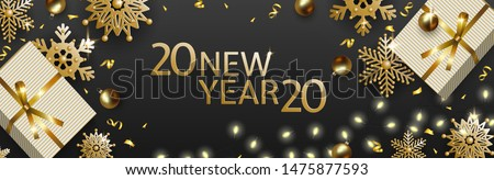 New Year 2020 and Christmas design, white gift box, gold balls, snowflakes, garland with luminous bulbs on black background. Festive vector horizontal template #1475877593