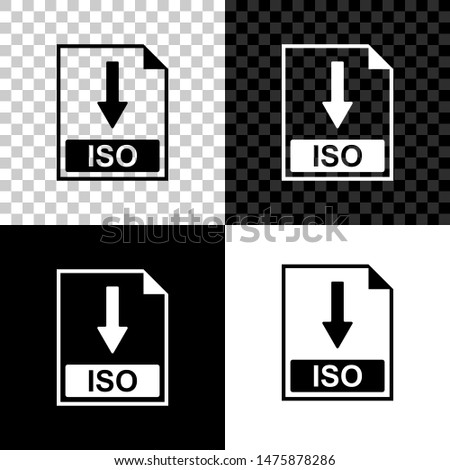 ISO file document icon. Download ISO button icon isolated on black, white and transparent background