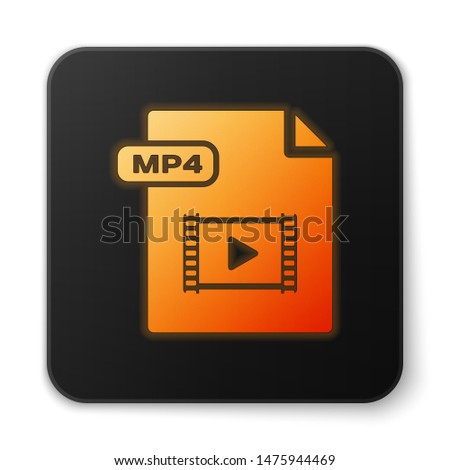 Orange glowing neon MP4 file document. Download mp4 button icon isolated on white background. MP4 file symbol. Black square button. Vector Illustration
