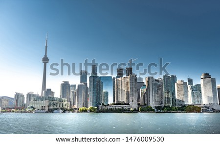 Iconic landmark and buildings in modern Toronto city in Ontario, Canada