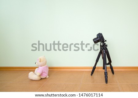 The DSLR on a tripod is aimed at a toy polar bear against the background of an empty light green wall. Concept master class training novice  photographers, beginner photography course .