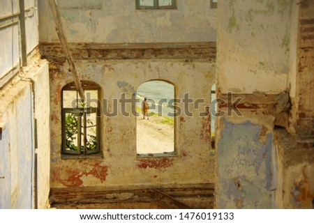 old ruin seaside house, seaside looks through window. #1476019133