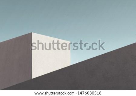 minimal modern geometric architecture shape Royalty-Free Stock Photo #1476030518