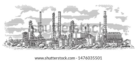 Industrial landscape line (engraving style) drawing. Oil refinery plant. Oil industry illustration. Vector. Sky in separate layer.  #1476035501