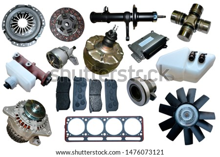 Auto spare parts car on the white background. Set with many isolated items for shop or aftermarket #1476073121