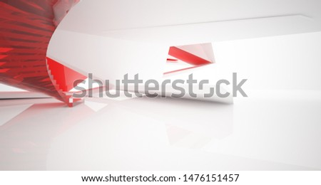 Abstract architectural glass red color interior of a minimalist house with large windows.. 3D illustration and rendering. #1476151457