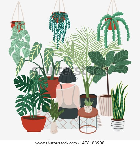 Girl caring for plants. Greenhouse, plants growing in pots. Crazy plant lady. Watering a home garden. Beautiful girl take care of plants. Illustration of house plants and flowers in pots #1476183908