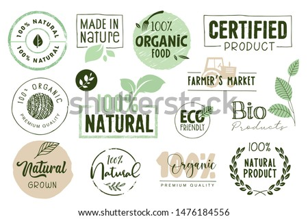 Organic food, farm fresh and natural products labels and elements collection. Vector illustration for food market, e-commerce, restaurant, healthy life and premium quality food and drink promotion. #1476184556