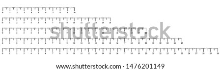 Simple illustration of measure scale isolated on white background. Horizontal rulers with different units of measurement. Vector illustration.