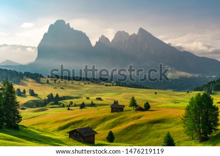 Summer sunrise in Italian Dolomiti Alps. Seiser Alm or Alpe di Siusi location, Bolzano province, South Tyrol, Italy, Europe #1476219119
