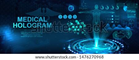 Medical hologram with body, examination in HUD style. Modern healthcare concept. Futuristic examination with hologram human body and health indicators. Sci 3D x-ray. Vector illustration Royalty-Free Stock Photo #1476270968