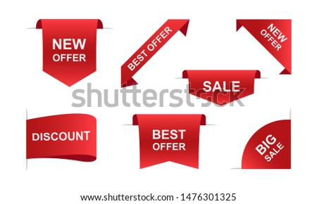 Sale ribbons banners in red. Vector illustration EPS 10 #1476301325