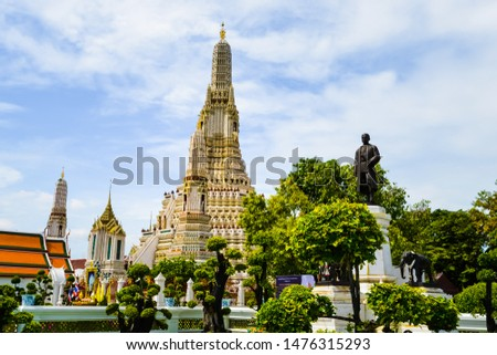 Bangkok, Thailand - September,18 , 2018 -  Wat Arun temple is in Buddhism and is an important landmark, famous for foreign tourists , Bangkok ,Thailand  #1476315293