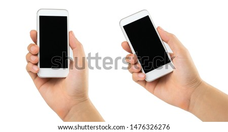 Man hand holding smartphone isolated on white background #1476326276